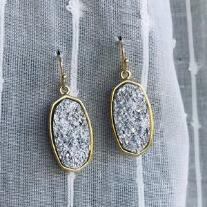 Jewelry - Gold and silver druzy earrings